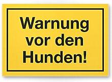 Warnung vor Hunden (gelb) - Hunde Kunststoff