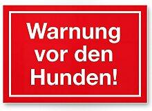 Warnung vor Hunden (rot) - Hunde Kunststoff
