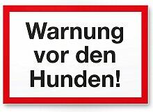 Warnung vor Hunden (weiß-rot) - Hunde Kunststoff