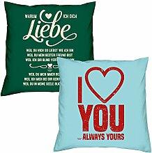 Warum ich Dich liebe I love you zum Valentinstag, Muttertag, Vatertag, Kissen, Dekokissen, Geschenkidee für Sie und Ihn