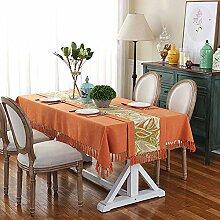 Waschbare Tischdecke mit Fransen/einfarbige