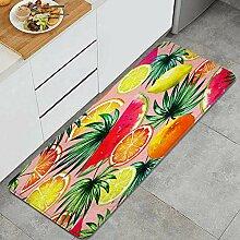 Waschbarer Küchenteppich,Aquarell Tropische