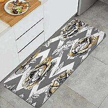Waschbarer Küchenteppich,Blumenbild der goldenen