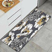 Waschbarer Küchenteppich,Blumenmuster Gold offene