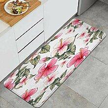 Waschbarer Küchenteppich,Blumenrosa Pastellfarbe