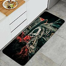 Waschbarer Küchenteppich,Farbdruck, Horror,