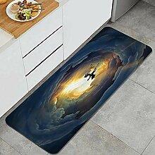 Waschbarer Küchenteppich,Fliegender Drache auf