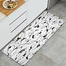 Waschbarer Küchenteppich,floraler orientalischer