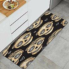 Waschbarer Küchenteppich,Gold Calavera Schädel.