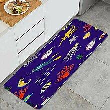 Waschbarer Küchenteppich,Hand gezeichnete Flache