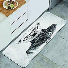 Waschbarer Küchenteppich,Hand gezeichnete