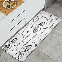 Waschbarer Küchenteppich,Illustration von Hand