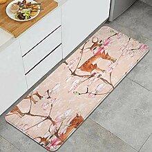 Waschbarer Küchenteppich,Kirschblüte und Kitze