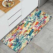 Waschbarer Küchenteppich,Kräuter blüht Blätter