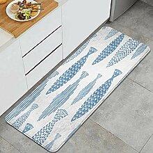 Waschbarer Küchenteppich,Leichte Aquarellfische,