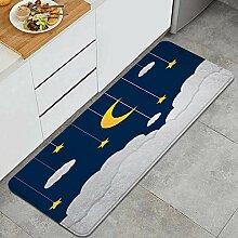 Waschbarer Küchenteppich,Mond und Sterne im