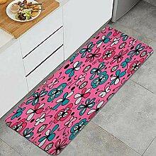 Waschbarer Küchenteppich,Nette Blumen auf rosa