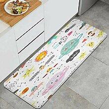 Waschbarer Küchenteppich,Netter Planetenstern und