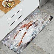 Waschbarer Küchenteppich,Ölgemälde Mädchen