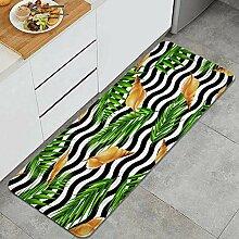 Waschbarer Küchenteppich,Palmblatt und Muscheln