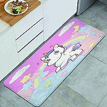 Waschbarer Küchenteppich,Prinzessin Regenbogen am