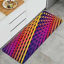 Waschbarer Küchenteppich,Raster Regenbogenlinien