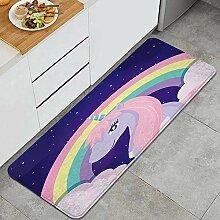 Waschbarer Küchenteppich,Regenbogen Einhörner