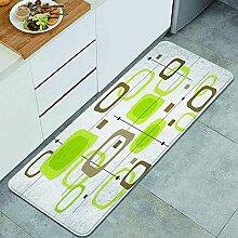 Waschbarer Küchenteppich,Retro lindgrüne und