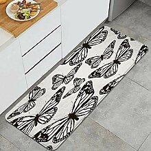 Waschbarer Küchenteppich,Retro Schmetterlinge