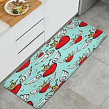 Waschbarer Küchenteppich,rote Herzen Flügel und