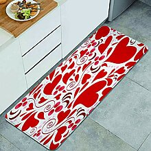 Waschbarer Küchenteppich,Rotes Liebesherz Happy