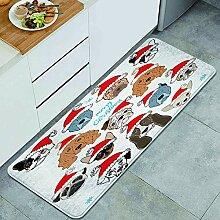Waschbarer Küchenteppich,Satz von Hundegesicht im