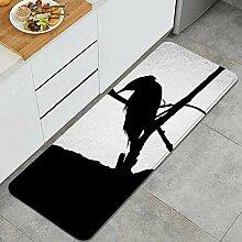 Waschbarer Küchenteppich,Silhouette Indian Roller