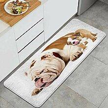 Waschbarer Küchenteppich,Vater und Sohn Hunds -
