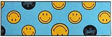 Waschbarer Läufer Smiley - hellblau - türkis 60x180 cm Teppichläufer Wash+Dry Bodenmatte