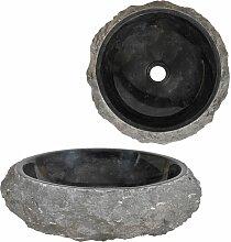 Waschbecken 40 x 12 cm Marmor Schwarz DDH04815 -