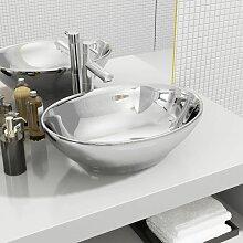 Waschbecken 40 x 33 x 13,5 cm Keramik Silber