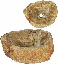 Waschbecken 45 x 35 x 15 cm Fossiler Stein
