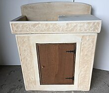 Waschbecken aus Beton, Spülbecken, Unterschrank Aus Holz, Maße: 84x 44H101cm.