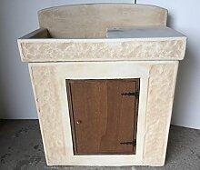 Waschbecken aus Beton, Unterschrank Aus Holz,