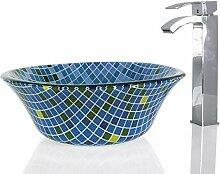 Waschbecken aus Glas, rund, quadratisch, 40 cm,