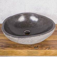 Waschbecken aus Naturstein L Aufsatzwaschbecken ca. 40 cm Steinwaschbecken