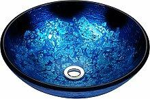 Waschbecken aus Sekuritglas–Blau