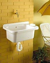Waschbecken, Ausgussbecken mit Ablaufgarnitur aus
