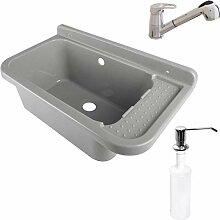 Waschbecken Ausgussbecken Waschtrog mit Armatur
