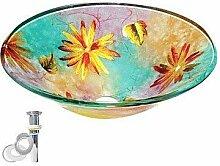 Waschbecken, Colorful Rund gehärtetem Glas