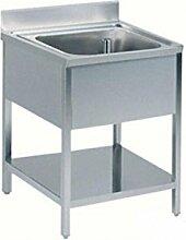 Waschbecken Edelstahl 1Schale mit Ablage 80x 60x 85H