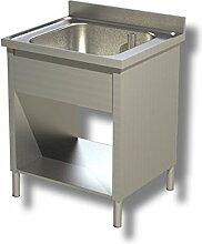 Waschbecken Edelstahl 1Schale Schrank über