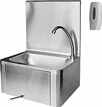 Waschbecken Edelstahl mit Kniebedienung Industrie Handwaschbecken+Seifenspender V2Aox