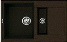 Waschbecken Granit Spüle 1,5 Becke / Drehexcenter / Serie YTALO 780 / leichte Reinigung durch prismatischer Eckenformung / italienische Qualitätsmarke ELLECI / Einbeckenspüle passend für Unterschränke ab 60 cm Breite / Material GRANITEK / Farbe CACAO / DUNKEL BRAUN / FARBAUSWAHL / MADE IN ITALY